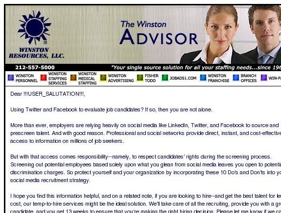 The Winston Advisor: Avoid the perils of screening via social networks