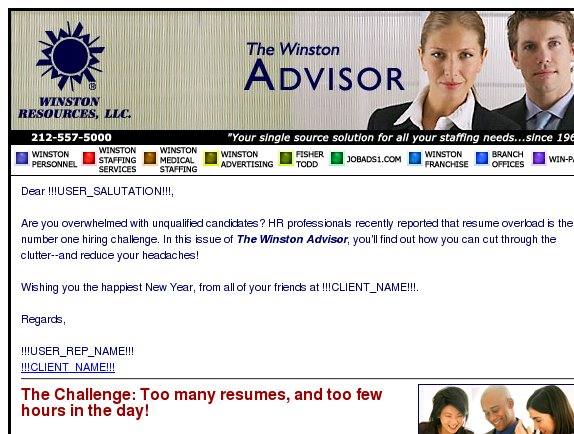 The Winston Advisor: Reducing resume overload
